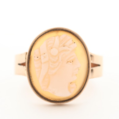 Vintage 8K Yellow Gold Carved Sardonyx Cameo Ring