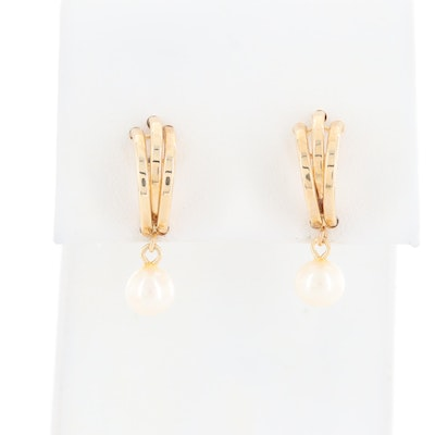 14K Yellow Gold Cultured Pearl J-Hoop Earrings