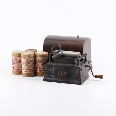 1903 Edison GEM Phonograph with Case and Song Cylinders