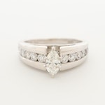 14K White Gold 0.92 CTW Diamond Ring