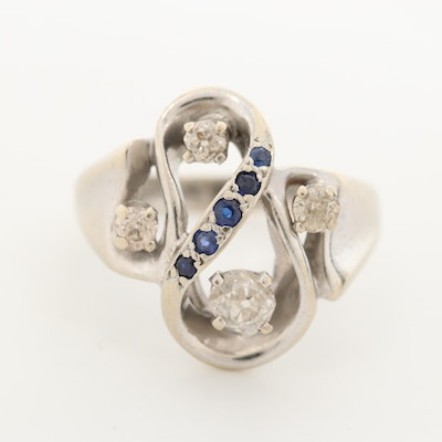 14K White Gold Diamond and Synthetic Blue Sapphire Ring