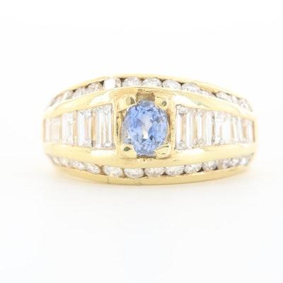 14K Yellow Gold Sapphire and 1.75 CTW Diamond Ring
