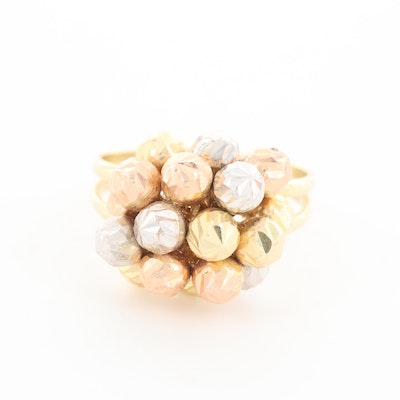 14K Yellow Gold Ring with White and Rose Gold Accents