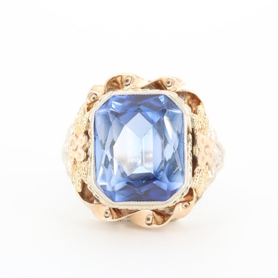 14K White and Yellow Gold Synthetic Sapphire Ring