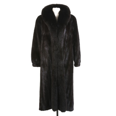Dark Mahogany Mink Fur Coat with Fox Fur Tuxedo Collar from Chicago Fur Mart