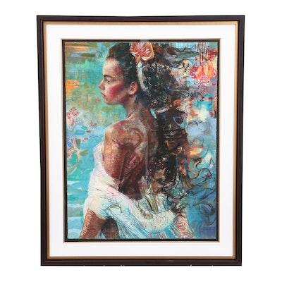 "Charles Dwyer Hand Embellished Giclée ""Island Muse"""