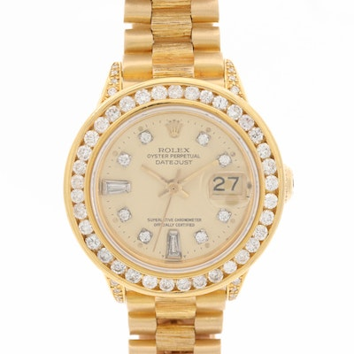 1979 Rolex President 18K Gold 1.58 CTW Diamond Bezel and Dial Wristwatch