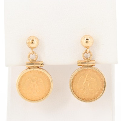 14K Yellow Gold Earrings with Mexican 1945 2-Pesos Gold Coins