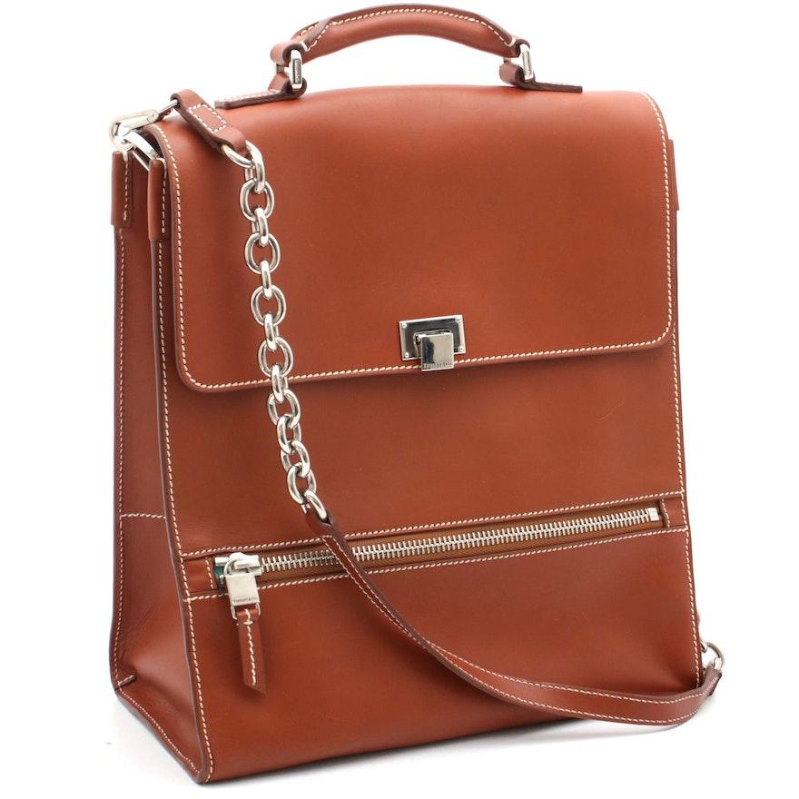 Tiffany & Co. Chestnut Leather Flap Front Skinny Briefcase Shoulder Bag