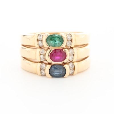 14K Yellow Gold Ruby, Sapphire, Emerald and Diamond Ring