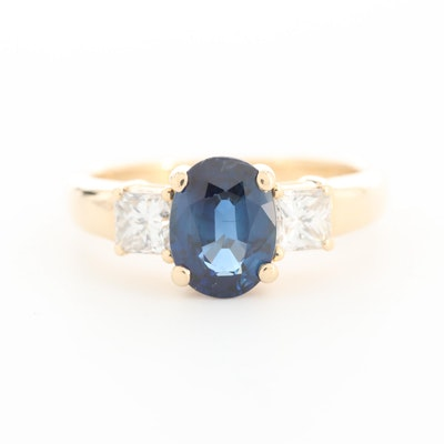 14K Yellow Gold 1.35 CT Sapphire and Diamond Ring