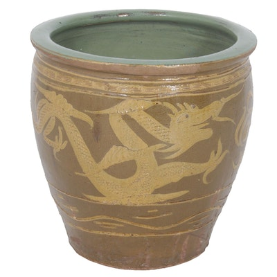Chinese Ceramic Pidan Egg Pot Planter