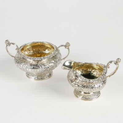 English Regency Repoussé Sterling Silver Sugar Bowl and Creamer, 1830
