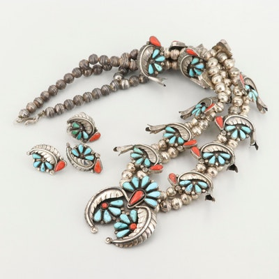 Southwestern Sterling Silver Turquoise and Coral Necklace, Ring and Earring Set