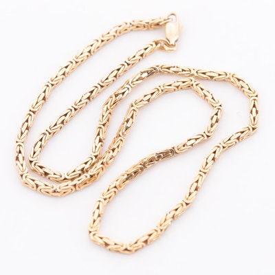 14K Yellow Gold Square Byzantine Chain Necklace
