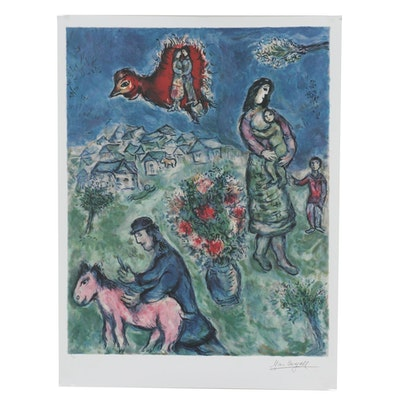"2004 Offset Lithograph after Marc Chagall ""Sur La Route Du Village"""