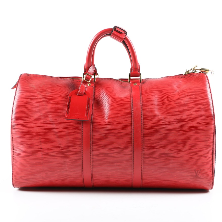 Louis Vuitton Paris Keepall 45 in Red Epi Leather with Padlock and Key