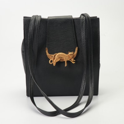 149b6ecdeab5d Atalla Black Epi Style Leather Handbag with Large Gold Tone Cheetah Clasp
