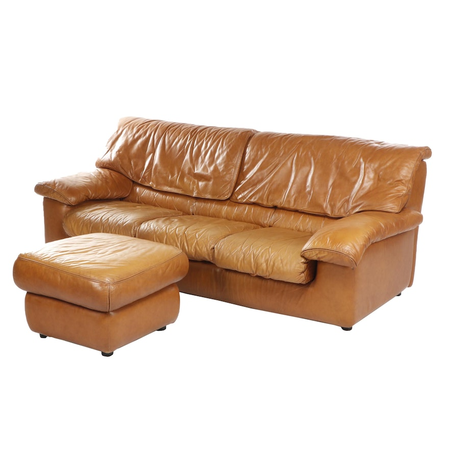 Roche Bobois Golden Brown Leather Sofa with Ottoman, Late 20th Century