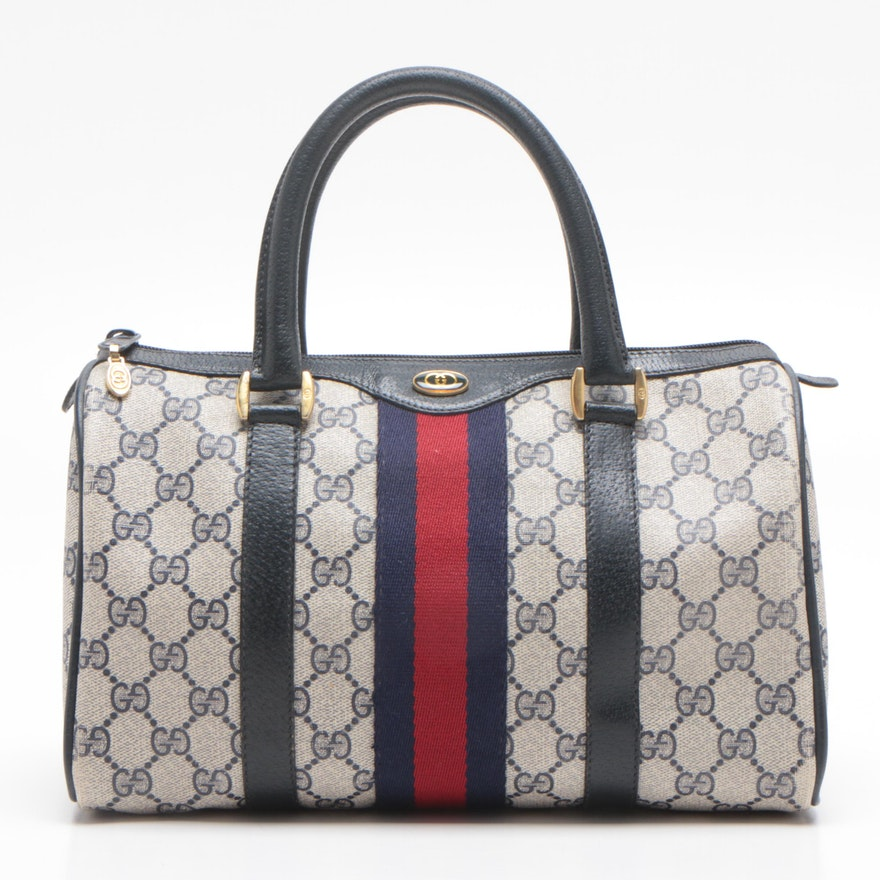 Gucci Accessory Collection GG Supreme Canvas Navy Web Boston Bag, Vintage