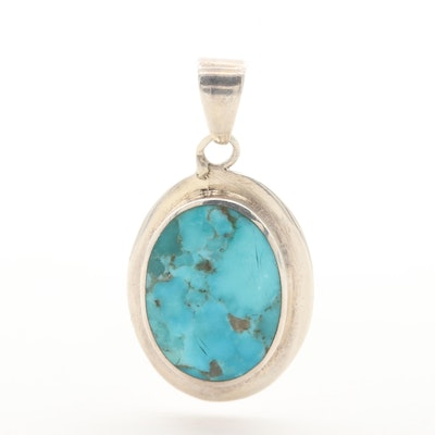 Barse Sterling Silver Turquoise Oval Pendant