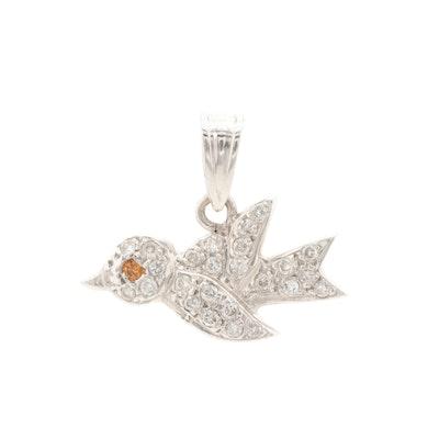 14K White Gold Diamond Bird Pendant