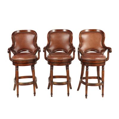 Three Swivel Bar Stools With Wooden Slat Backs Ebth