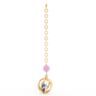 18K Yellow Gold Ruby and Glass Enhancer Pendant