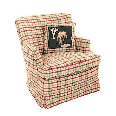 Button-Tufted Plaid Armchair, Late 20th Century