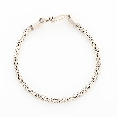 Sterling Silver Square Byzantine Link Bracelet