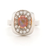 18K White Gold Opal and Diamond Euro-Shank Ring