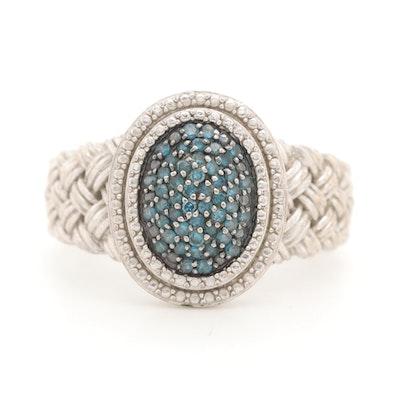 Sterling Silver Diamond Braided Ring