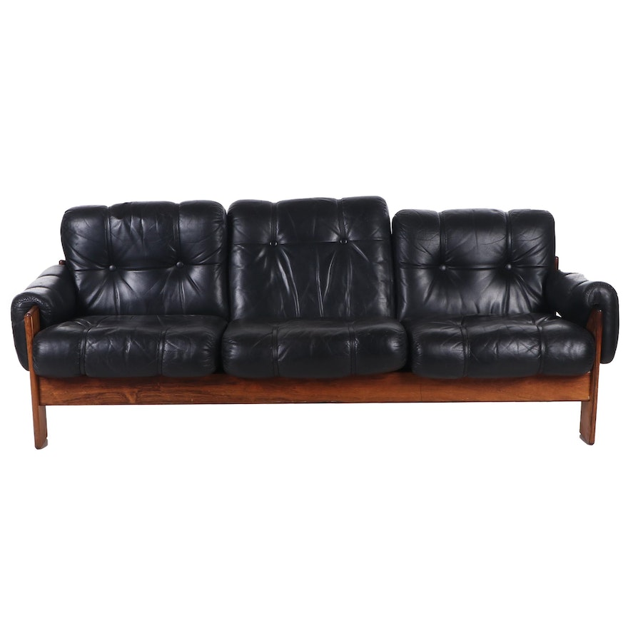 Mid Century Modern Rosewood Leather Sofa, Mid 20th Century