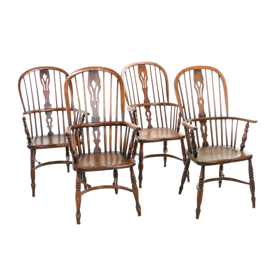 Four Thames Valley Windsor Armchairs, Late 19th/Early 20th Century