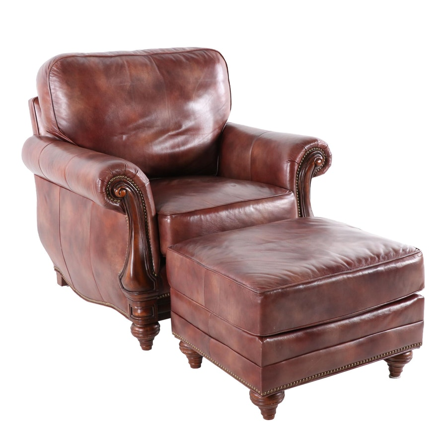 Admirable Bradington Young Leather Club Chair And Ottoman With Nailhead Trim Pdpeps Interior Chair Design Pdpepsorg