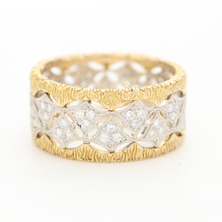18K Yellow and White Gold Diamond Ring