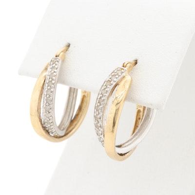 Sterling Silver Diamond Twisted Hoop Earrings