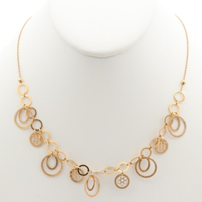 14K Yellow Gold Circle Link Necklace