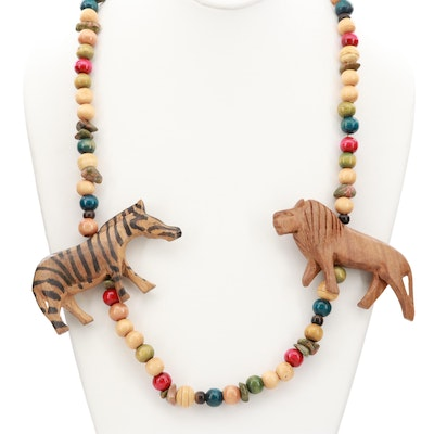 Painted Wood Zebra and Lion Necklace