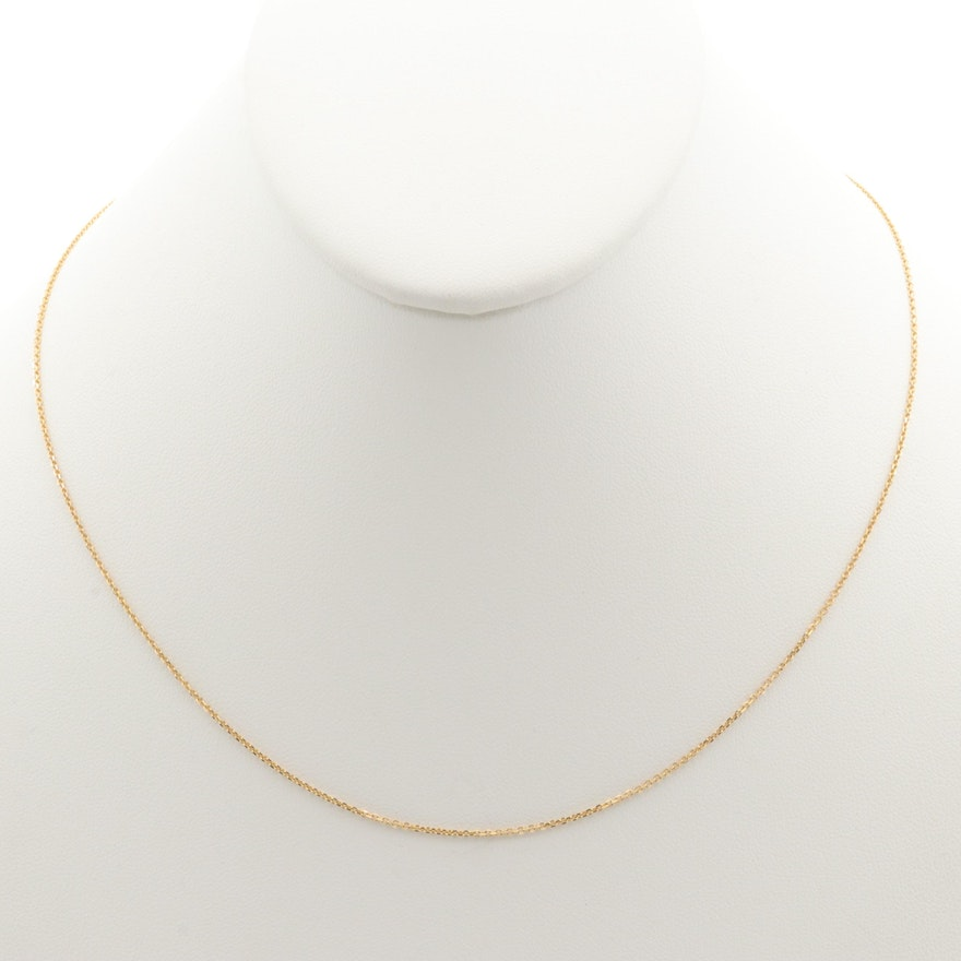 14K Yellow Gold Rolo Chain Necklace