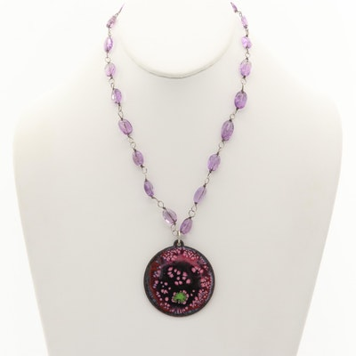Sterling Silver Amethyst and Enamel Necklace