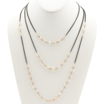 Triple Strand Layered Plastic Necklace