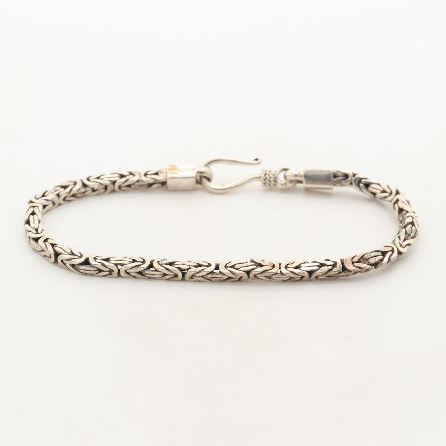 Sterling Silver Square Byzantine Bracelet