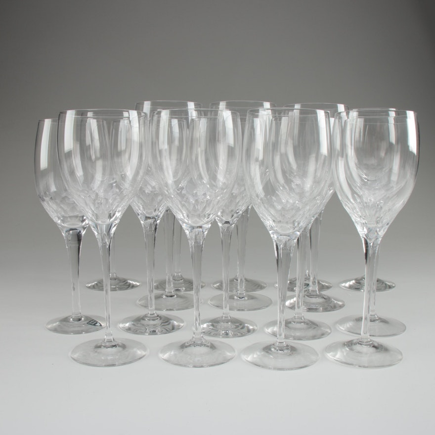 """Orrefors """"Prelude Clear"""" Crystal Water Goblets and Clarets"""