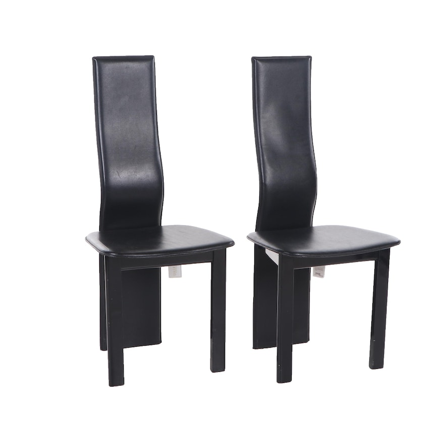 Awe Inspiring Contemporary Black Leather Upholstered High Backed Empire Side Chairs Gmtry Best Dining Table And Chair Ideas Images Gmtryco