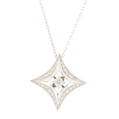 18K and 14K White Gold Diamond Necklace