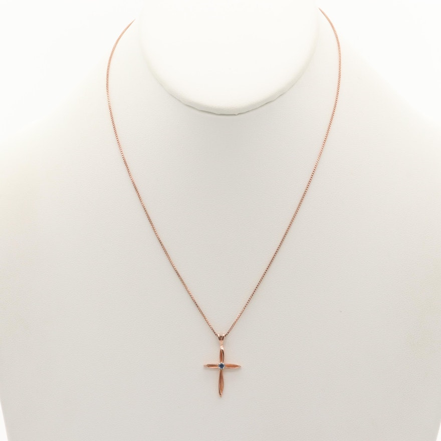 14K Rose Gold Synthetic Sapphire Cross Pendant with Sterling Silver Chain