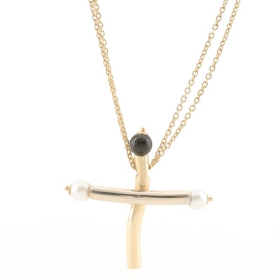 14K Two Tone Cultured Pearl and Black Onyx Cross Necklace