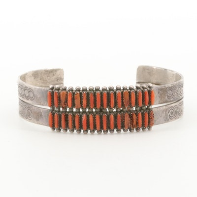 Gloria Acque Zuni Sterling Silver Coral Petite Pointe Cuff Bracelet