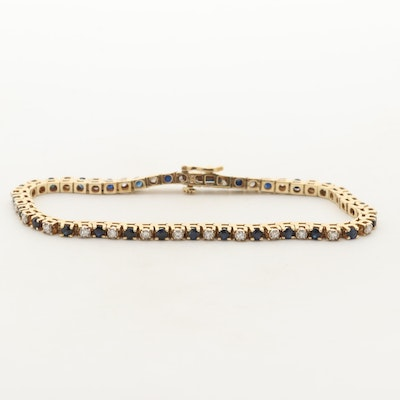 14K Yellow Gold Sapphire and Diamond Line Bracelet